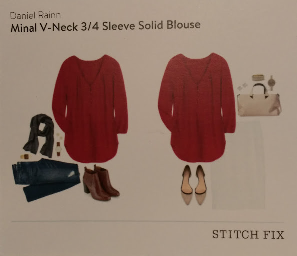 Daniel Rainn Minal V-Neck 3/4 Sleeve Solid Blouse Stitch Fix https://www.stitchfix.com/referral/3590654